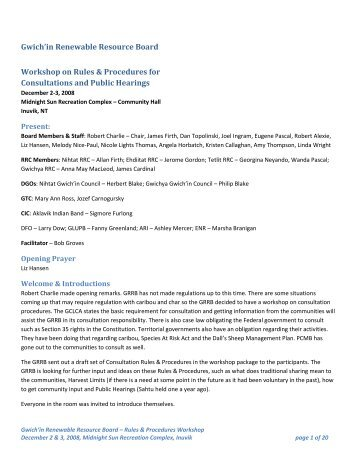 Minutes from GRRB consultation workshop Dec 2-3, 2008 - Gwich'in ...
