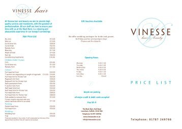 Price List - Vinesse Hair and Beauty