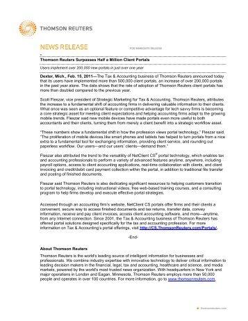 Thomson Reuters Surpasses Half a Million Client Portals