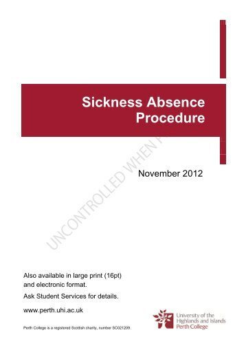 Sickness Absence Procedure - Perth College