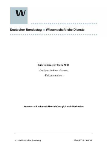 Förderalismusreform 2006 - Grundgesetzänderung Herausgeber