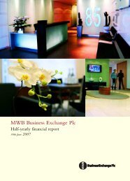 Interim Report - 6 months to 30 June 2007 - MWB Business Exchange
