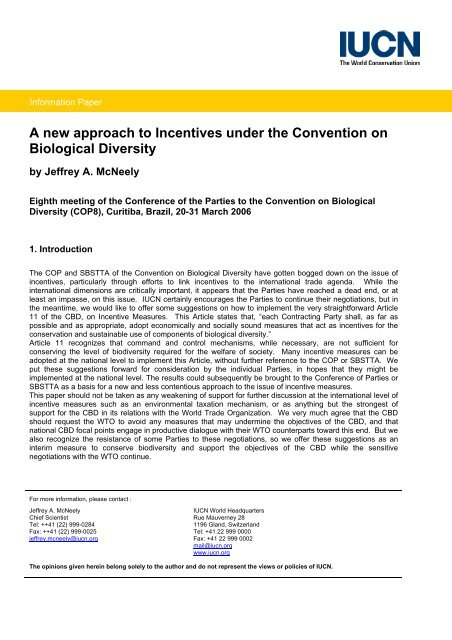 A new approach to Incentives under the Convention ... - ResearchGate