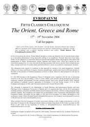 The Orient, Greece and Rome - The Europaeum