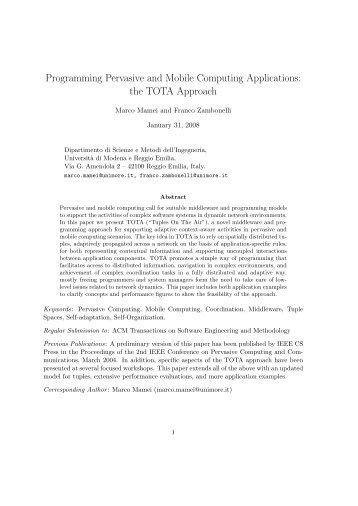 Programming Pervasive and Mobile Computing ... - CiteSeerX