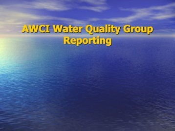 AWCI Water Quality Group Reporting