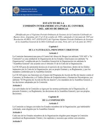 estatuto de la comisión interamericana para el control del ... - cicad