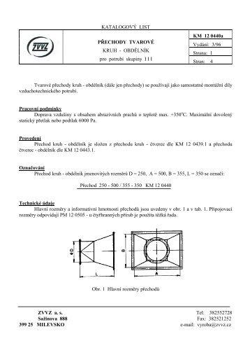 Tvarové přechody kruh - obdélník \(dále jen přechody ... - ZVVZ a.s.