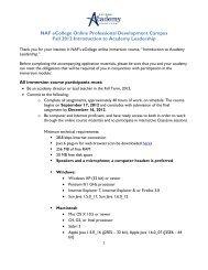 The Pearson NAF Curriculum Fellowship Program - National ...