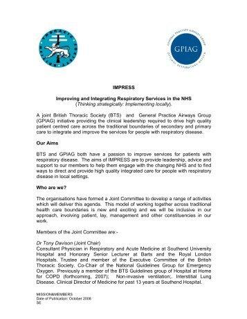 IMPRESS Improving and Integrating Respiratory ... - Brit Thoracic