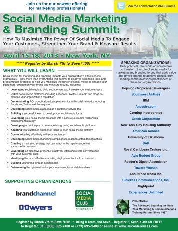 Social Media Marketing & Branding Summit - April 15-18, 2013