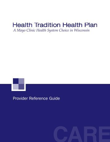 Provider Reference Guide - Health Tradition Health Plan