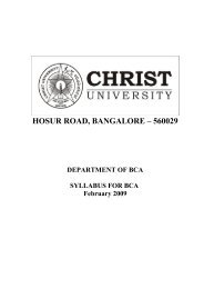 Bachelor of Computer Applications (BCA) - Christ University