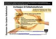 Sammen for bedre folkehelse Invitasjon til folkehelseforum - Gran ...