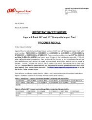 IMPORTANT SAFETY NOTICE PRODUCT RECALL - Ingersoll Rand