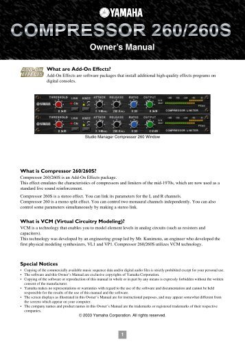 What are Add-On Effects? What is Compressor 260/260S? What is ...