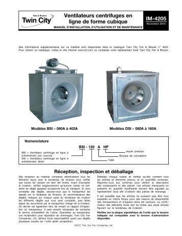 Ventilateurs centrifuges en ligne de forme cubique - Twin City Fan ...