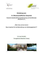 Einladung zum 14. Wissenschaftlichen Gespräch - DG-Sucht