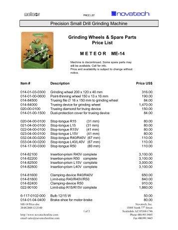 ME-14 Price list - Novatech Inc.
