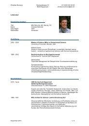 CV von Christian Bommer - IBU - Institut für Bau und Umwelt