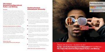 Flyer Stipendium Kunst- und Kulturmanagement als PDF - FSJ Kultur