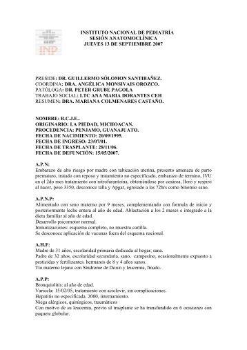 instituto nacional de pediatría sesión anatomoclínica jueves 13 de ...