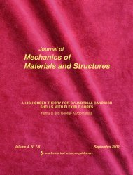 Journal of the Mechanics of Materials and Structures