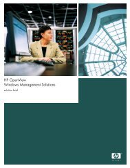 HP OpenView Windows Management Solutions - HP Software