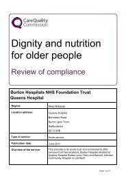 Queen's Hospital Burton Upon Trent – Dignity and nutrition report ...