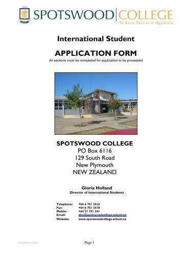 International Student APPLICATION FORM - Spotswood College