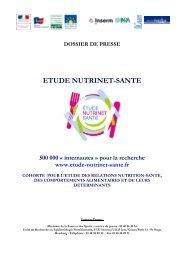 Etude Nutrinet-Sante - Dossier de presse - Inpes