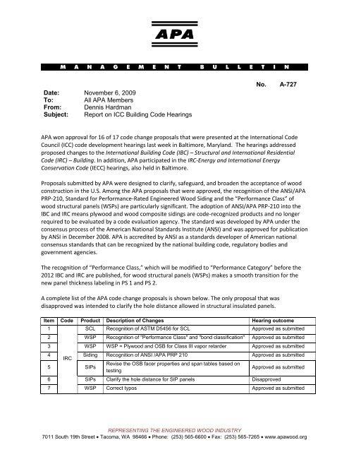 marketing advisory committee memo apa the engineered wood