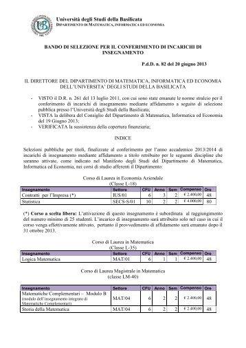 bando 2013 - 2014 ed allegati - Università degli Studi della Basilicata