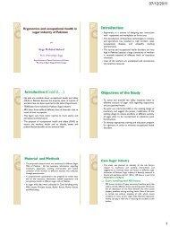 Ergonomics and occupational health in sugar ... - icdd@uaf.edu.pk