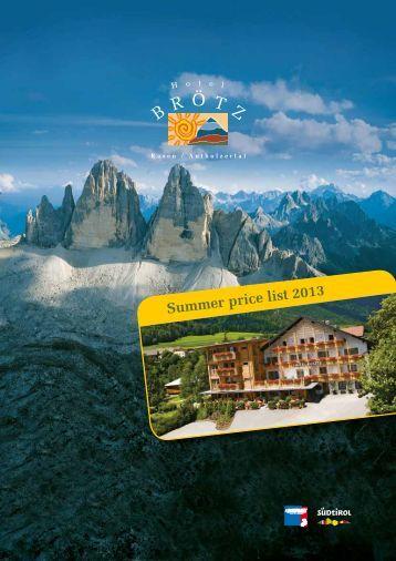 Prices Summer Season 2013 - Hotel Brötz