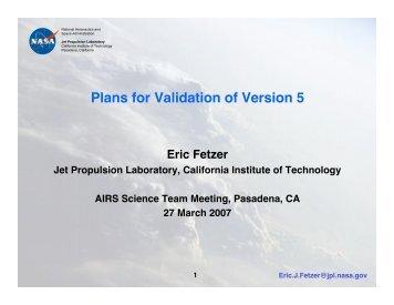 Plans for Validation of Version 5 - AIRS - NASA
