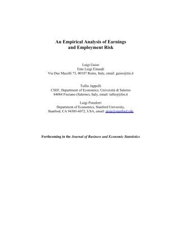 An Empirical Analysis of Earnings and Employment Risk
