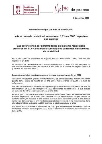 Defunciones según la Causa de Muerte 2007 - Instituto Nacional de ...