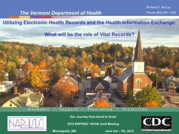 The Vermont Department of Health - National Association for Public ...