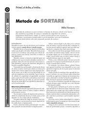 ocu Metode de SORTARE - GInfo