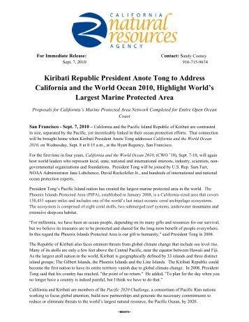 Kiribati Republic President Anote Tong to Address California and ...