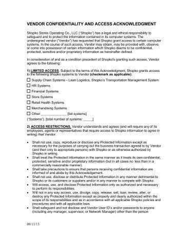 Shopko Vendor Confidentiality Access Agreement   Vendors .