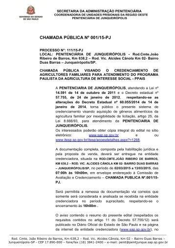 CHAMADA PÚBLICA Nº 01/2011 - Secretaria da Administração ...