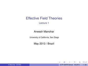 Effective Field Theories Lecture 1 - ictp – saifr