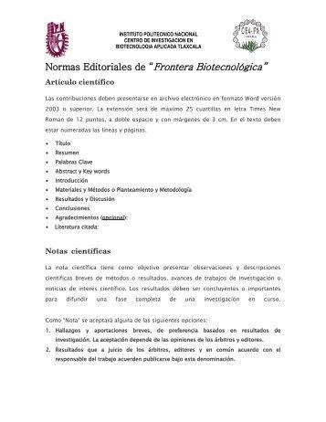 Normas Editoriales de - Centro de Investigación en Biotecnología ...