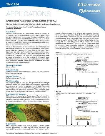 Chlorogenic Acids from Green Coffee - Phenomenex