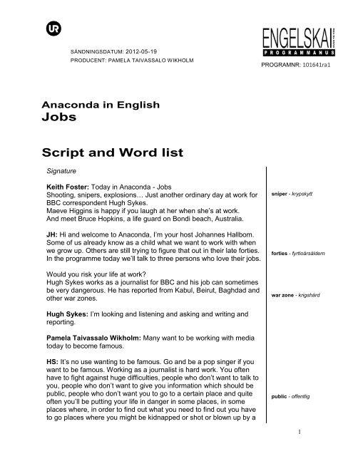 anaconda in english jobs script and word list ur