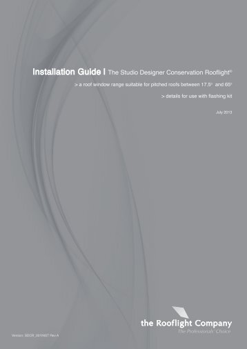 the Studio Conservation Rooflight Installation Manual