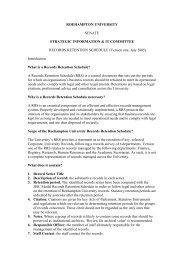 (DRAFT) RECORDS RETENTION SCHEDULE - Roehampton