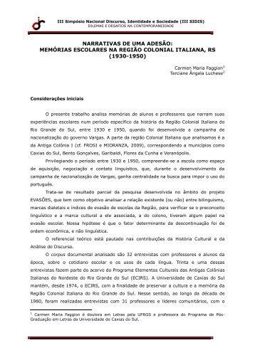 memórias escolares na região colonial italiana, rs - IEL